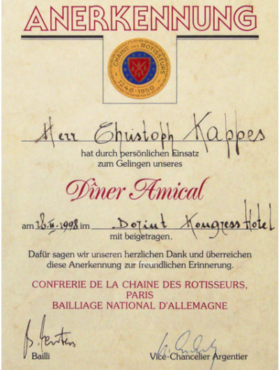 Kappes Catering Auszeichnung